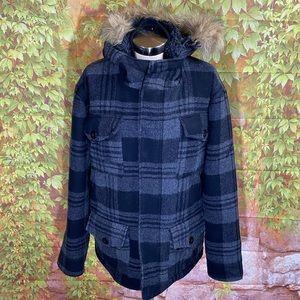 Billabong Plaid Wool Coat
